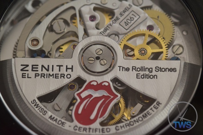 The Back of a Zenith El Primero Rolling Stones Edition automatic watch movement