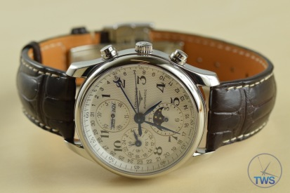 Longines Master Collection Moon Phase: Unboxing Review [L2.673.4.78.3] On side with crown side up with Alligator leather strap