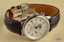 Longines Master Collection Moon Phase: Unboxing Review [L2.673.4.78.3] Watch on its side crown up, with inside of strap in view