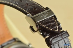 Longines Master Collection Moon Phase: Unboxing Review [L2.673.4.78.3] The signed deployant buckle on the Alligator leather strap