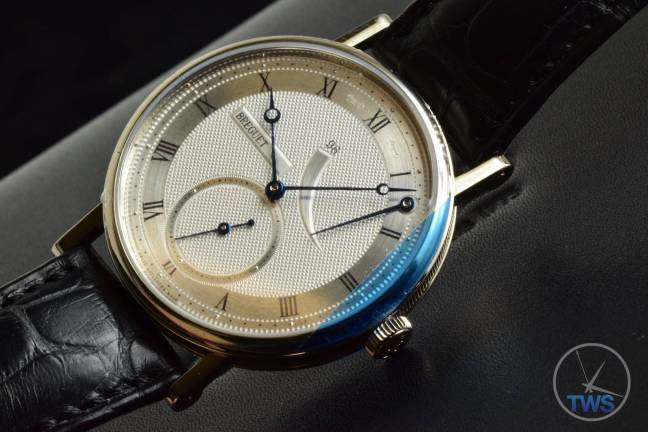 Breguet Classique 5277- Unboxing Review [5277bb-12-9v6] Watch on side in low light with crown down