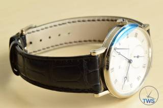 Breguet Classique 5277- Unboxing Review [5277bb-12-9v6] Watch on side with dial illuminated