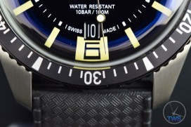 OrisDivers Sixty-Five closeup of bottom half of dial with the date window, 6 o'clock marker, bezel, lugs, strap and WATER RESISTANT 10 Bar markings [01 733 7707 4064-07 4 20 18]