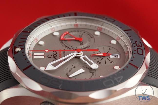 Horizontal dial close up for Omega Seamaster 300m Diver Co-Axial Chronograph 44mm: Hands-On Review [212.92.44.50.99.001 ETNZ]