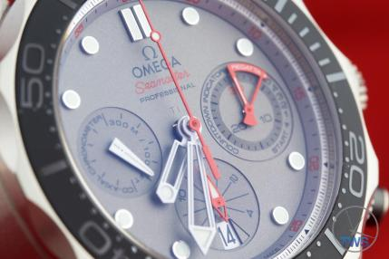 Dial close up of Omega Seamaster 300m Diver Co-Axial Chronograph 44mm: Hands-On Review [212.92.44.50.99.001 ETNZ] facing right
