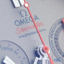 Close up of the text 'Ω, OMEGA, Seamaster, PROFESSIONAL'. Omega Seamaster 300m Diver Co-Axial Chronograph 44mm: Hands-On Review [212.92.44.50.99.001 ETNZ]