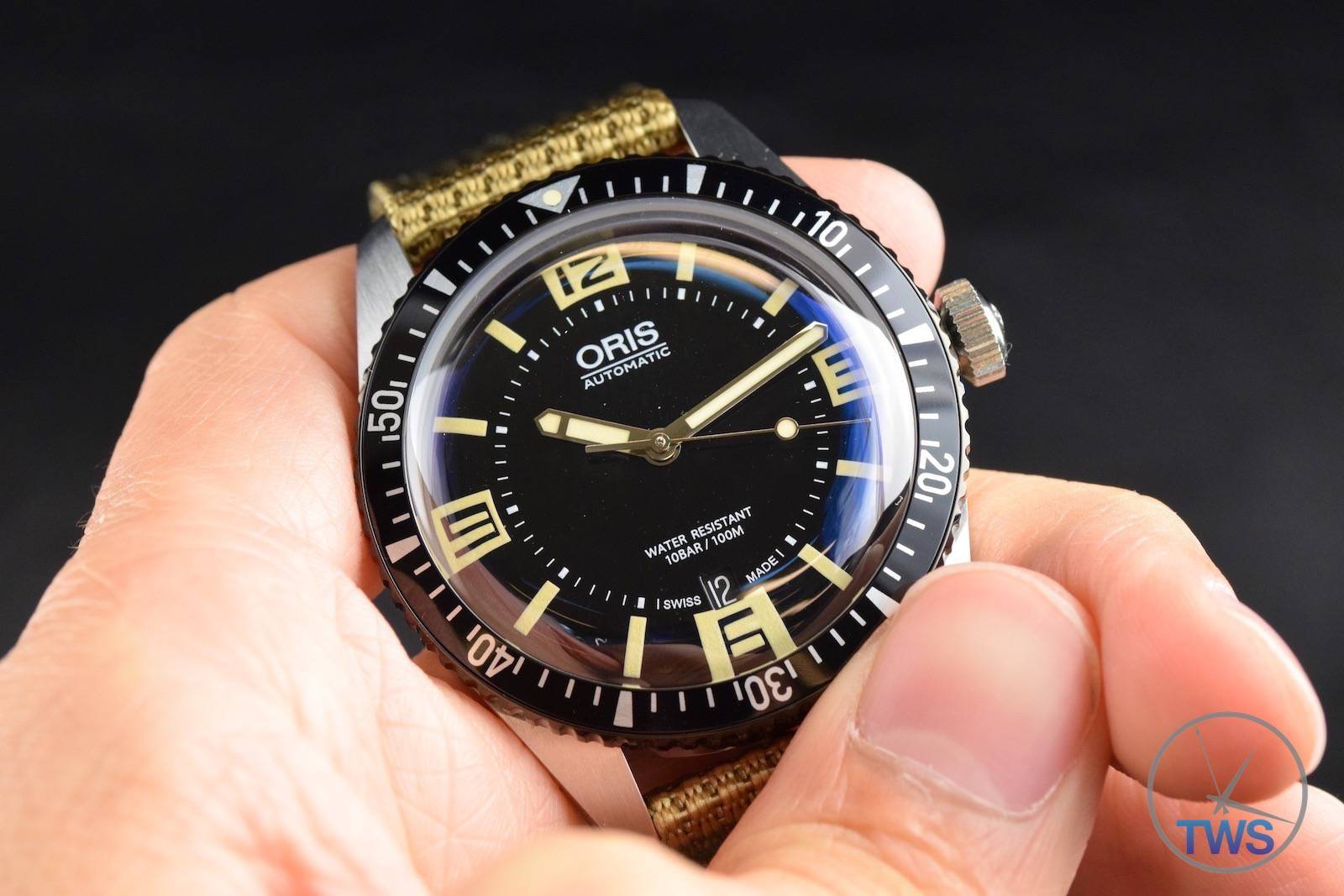 oris divers sixty five with a fabric khaki strap hands on review