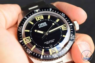 The Oris Divers Sixty-Five (With Metal Bracelet) [01 733 7707 4064-07 8 20 18] Sat In Hand With Black Background