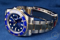 Watch facing left with bracelet and clasp in view - Rolex Submariner Date: Hands-On Review [116613LB]