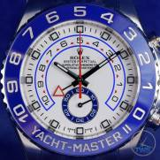 Dial close up of Rolex Yachtmaster II- Hands-On Review [116680] square on with time set at ten past ten