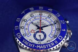 Face of watch looking up on the Rolex Yachtmaster II- Hands-On Review [116680]