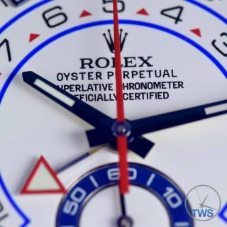 Centre of dial close up on the Rolex Yachtmaster II- Hands-On Review [116680]