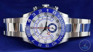 Watch sitting on its side with crown pointing up - Rolex Yachtmaster II- Hands-On Review [116680]