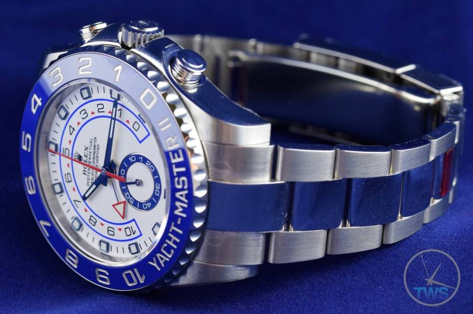 Watch looking left with bracelet and clasp - Rolex Yachtmaster II- Hands-On Review [116680]