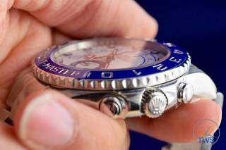 Watch cradled in hand - Rolex Yachtmaster II- Hands-On Review [116680]