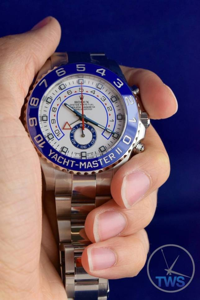 Watch held up in hand - Rolex Yachtmaster II- Hands-On Review [116680]