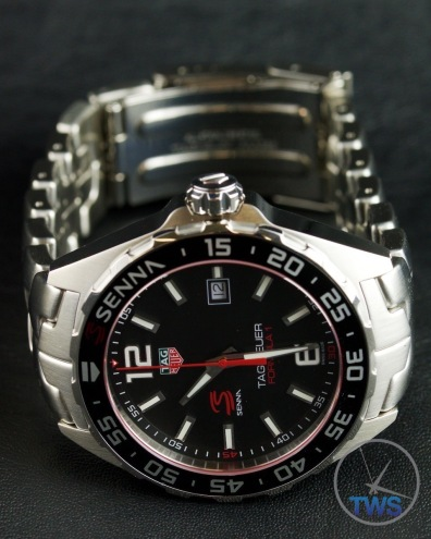 Watch on side with bracelet pulled back - Tag Heuer Senna Special Editions waz1012.ba0883 Unboxing Review