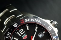 Close up of Senna aluminium bezel - Senna Special Edition waz1012.ba0883 Watch Unboxing Review