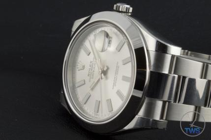 Rolex Oyster Perpetual Datejust II: Hands-On Review [116300 Silver Index] - Laying on its side with Rolex oyster bracelet