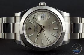 Rolex Oyster Perpetual Datejust II: Hands-On Review [116300 Silver Index] - Watch on its side with its crown up and time set to ten past ten