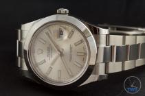 Rolex Oyster Perpetual Datejust II: Hands-On Review [116300 Silver Index] - On its side crown up with bracelet
