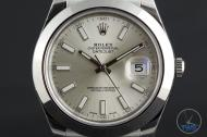 Rolex Oyster Perpetual Datejust II: Hands-On Review [116300 Silver Index] - Dial close up with time set to 10:10:25