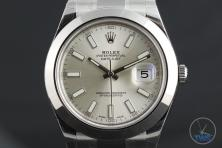 Rolex Oyster Perpetual Datejust II: Hands-On Review [116300 Silver Index] - Dial close up with watch on a grey background