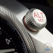 OrisBig Crown ProPilot Altimeter 47mm: Hands-On Review[01 733 7705 4134-07 5 23 14FC] - Extreme close up of altimeter crown open with red ring and writing, warning of decreased water-resistance