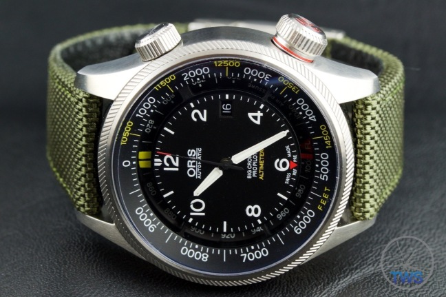 OrisBig Crown ProPilot Altimeter 47mm: Hands-On Review[01 733 7705 4134-07 5 23 14FC] - Dial close up with watch on its side with crown up and venting crown activated