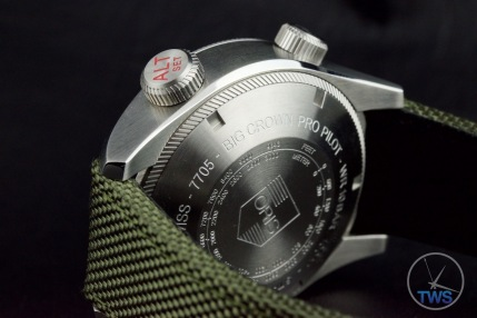 OrisBig Crown ProPilot Altimeter 47mm: Hands-On Review[01 733 7705 4134-07 5 23 14FC] - Back of ProPilot watch with conversion table from feet into meters